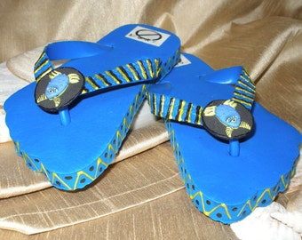 One of a Kind - Hand Decorated - Child's Flip Flops 9/10 (blue, black, yellow)