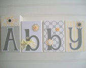 Letter Blocks . Courtney Bedding. Yellow and Grey. Nursery Name Blocks. Name Letters . Grey .