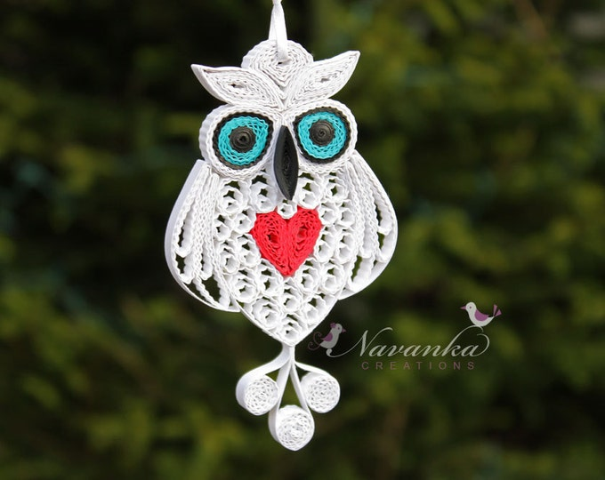 Made to order Paper Quilling Owl with red heart in a gift box for Valentine's day, Paper Quilled White Owl, Paper Anniversary Gift