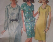 1966 One or Two Piece Dress with a Rolled Collar, Simplicity Sewing Pattern 6861, Size 12, Bust 32