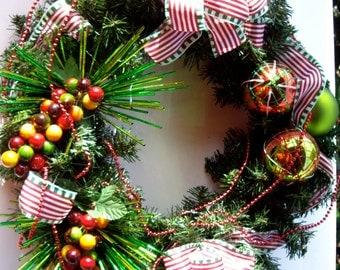 Christmas wreath decor door wreath glass ornaments