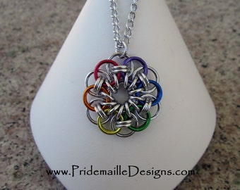 Rainbow Gay Pride Pendant Necklace - Celtic Flower - Aluminum Chainmaille Jewelry