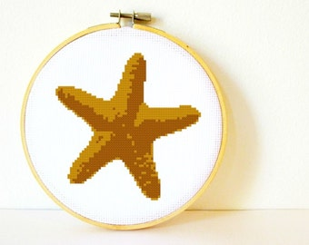Counted Cross stitch Pattern PDF. Instant download. Starfish. Includes easy beginner instructions.