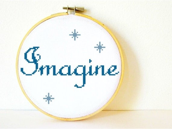Counted Cross stitch Pattern PDF. Instant download. Imagine. Includes easy beginner instructions.