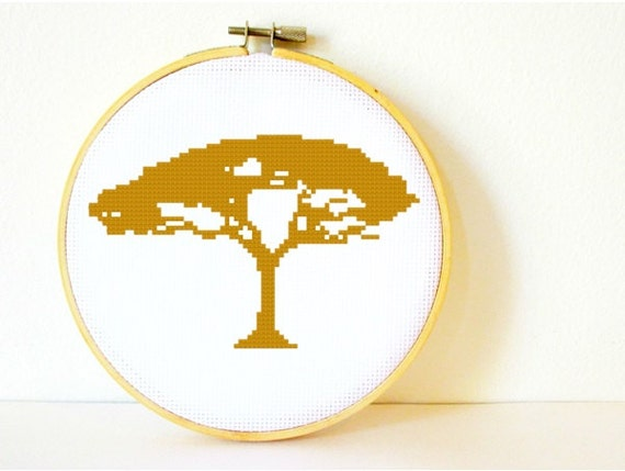 Counted Cross stitch Pattern PDF. Instant download. African Tree Silhouette. Includes easy beginner instructions.