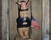 Folk Art standing rabbit Prims Magazine HAFAIR Uncle Sam bunny OFG