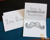 Awesome Mustache - Hand drawn note card