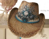 SOLD - Island Cowgirl. It's Five o'clock Somewhere. Island Time Embellished Cowboy Hat