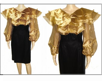 Vintage 1980s Dress  . Designer Gold Chiffon Velvet Couture Ornate Femme Fatale Garden Party Mad Man Cocktail Pinup Bombshell Rockabilly