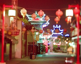 "LA print, Chinatown photography, lantern photography -"" LA Night Lights"