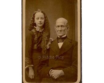 CDV photo | Vintage Photograph | Victorian Girl, Long Hair, Grandfather