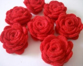 Set of 20 pcs - handmade MINI Felt Rose Flower - red (MRO)
