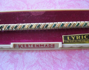 Vintage Kestenmade Watch Band Ladies Green Rhinestones