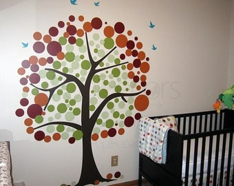 Baby Tree Wall Decal Removable Vinyl Wall Sticker - Polka Dot Tree- 81inch H- Tree Wall Murals Kids Tree Decal Home Decor by Pop Decors