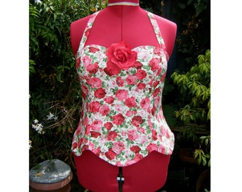 rose rockabilly halter top with petal shaped hem and detachable rose,  pin up top