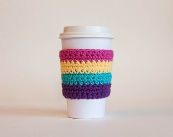 Multi-colored Coffee Sleeve - Reusable Coffee Sleeve - Fun Java Jacket