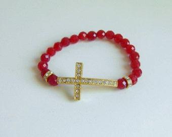 Dazzling Crystal Rhinestone Golden Cross Ruby Red  Bracelet Stretchy Bracelet, Stacking Bracelet, Christian Jewelry