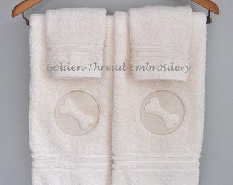 Dog Bone Hand Towels / Embossed Luxury Hand Towel Set / Ivory Dog Bone Towels / Golden Retriever / Embroidered Hand Towel Pair / Washcloths