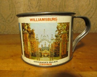 Vintage Souvenir Williamsburg Virginia Tin Cup