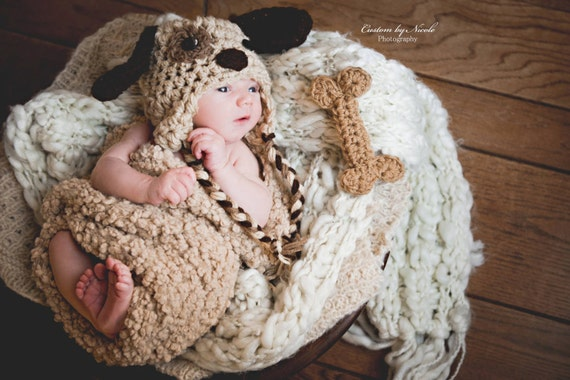 Baby Boy Hat Puppy Dog AND BONE infant newborn Earflap Hat Toddler Baby Photo Studio Prop Hat Photography