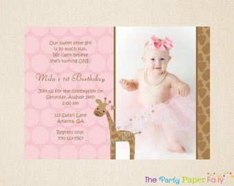 Girl Giraffe Birthday Photo Invitation (Pink & Brown) by The Party Paper Fairy (GGB1)