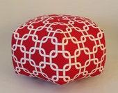 "18"" Ottoman Pouf Floor Pillow Red White Gotcha Chain"