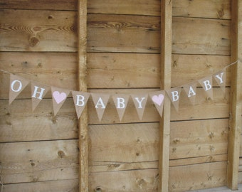 Oh Baby Baby, banner burlap banner in white lettering, baby shower banner, twins banner