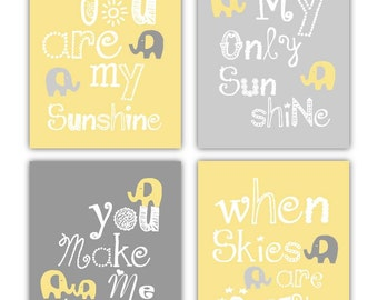 Yellow and Gray Nursery Art // Yellow and Gray Art for Kids // Elephant Nursery Art // You are my sunshine 4-8x10 PRINTS ONLY