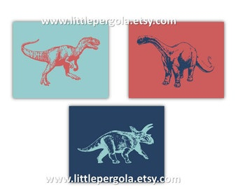 "Dinosaur Art for Kids // Dinosaur Decor // Dinosaur Nursery Wall Art Prints // Dino Art Prints Choose your colors 8x10"" Set of Three Prints"
