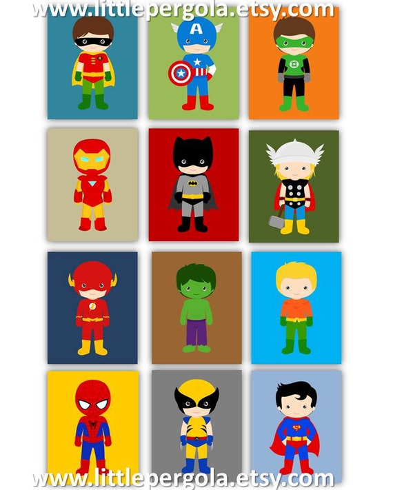 Superhero Art Prints 8x10 Set Of 12 Twelve Prints