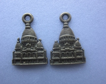 Antique Bronze Castle Pendants 23x16mm 2 Pendants