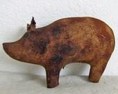 Brown Grunged Primitive Pig Bowl Filler, Pig Shelf Sitter, Primitive Hog, Brown Hog, Cave Creek Pig