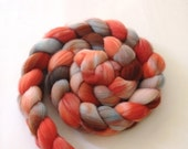 Upstream - 4 oz Hand dyed Light Blue, Coral and Salmon Merino 64s Roving, Spinning Upgrade Available