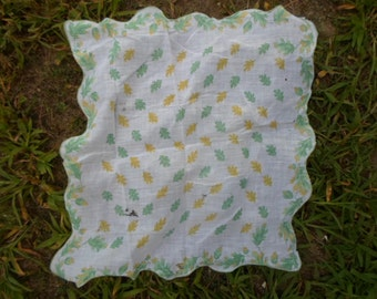 Vintage 1950s Oak Leaf Acorns Green Yellow Leaves Handkerchief Soft For Repurpose or Use
