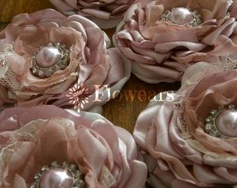 Small dusty pink fabric flowers, Bridal flowers, Wedding cake decorations, Wholesale flowers, hair accessories, table decor, cake topper