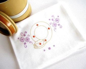 Vintage White Tablecloth Table Topper with Cup and Plate Embroidered Design in Lilac Lavender Orange Beige