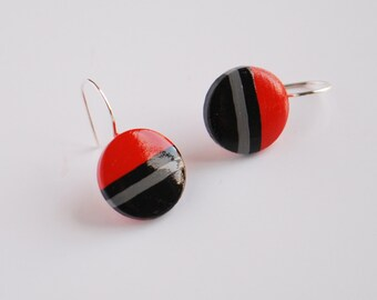 Striped red and black Dangle earrings