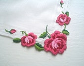 Hankie with Pink Rose Embroidery Vintage Handkerchief