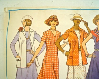 1970s Dress and Jacket Pattern Vogue 1199 Basic Design Princess Dress Bust 42