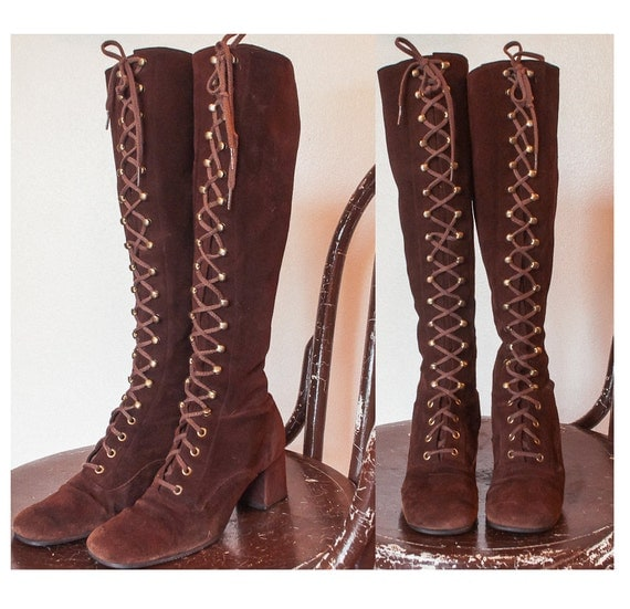Vintage 1960s Gogo Boots Brown Suede Lace Up Hippie Mod 60s