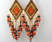 Earth Tone Diamond Pattern Earrings, 2 1/2 inch (6.1cm) Drops, Hand Woven Delica Seed Bead Earrings, Bronze White and Coral Fringed Earrings