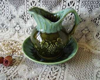 Moss green and seafoam, Vintage pitcher and bowl