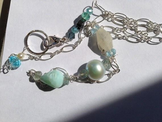 Blue pearl, Peruvian Blue opal, White Sapphire, Sky Blue topaz Silver ...
