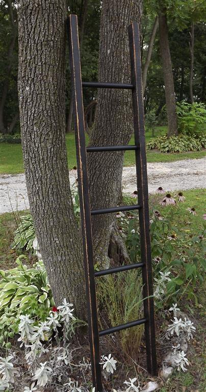 Ladder pot rack reclaimed wood distressed black solid for Reclaimed wood pot rack