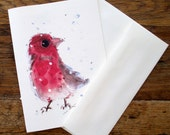 Red Finch in Snow Holiday Cards, Christmas Card Set, Bird Art Holiday Cards