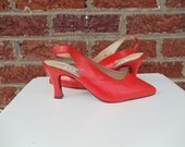 SALE Tangerine Orange Leather Slingback Pumps - Retro Bright Spring Summer Disco Dance Mod - Spool Heel - size 7