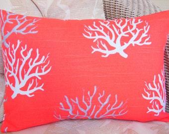Coral Gray Coastal Decorative Throw Pillow Cover Salmon Lumbar Cushion Nautical Pillow Beach Pillow Home Decor All Sizes Salmon Coral Pillow