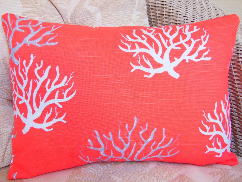 Coral Gray Coastal Decorative Throw Pillow Cover Salmon Lumbar