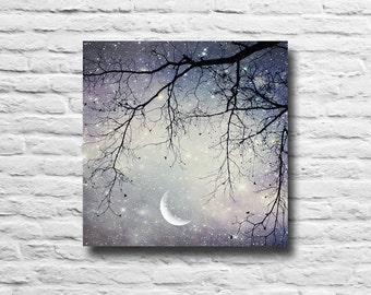Starry Night Sky. Stars. Moon. Tree branches. purple. silver. blue. canvas wall art. home decor. dreamy sky. surreal. girly. multiple sizes