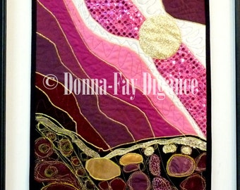 Fuchsia Valentine Fabric Collage Applique Hanging Gold Moon Decor